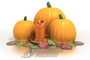Autumn candle with pumpkins and leaves