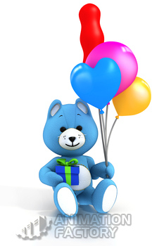 Blue teddy bear holding balloons and present