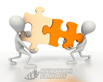 Two figures connecting jigsaw puzzle pieces