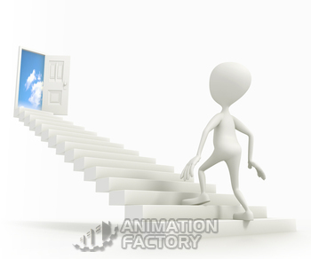 Figure ascending staircase to heaven