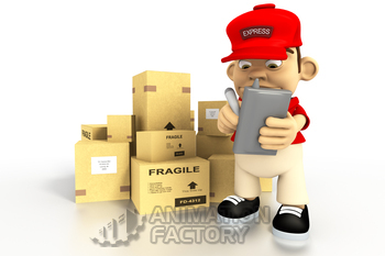 Deliveryman with boxes and clipboard