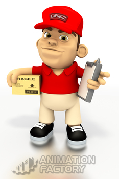 Deliveryman holding box and clipboard