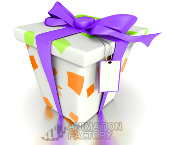 Gift box with bow and tag