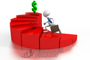 Businessman chasing dollar sign on bar graph stairs