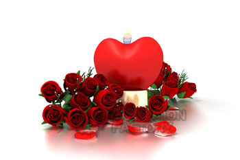 Heart candle with bouquet of red roses