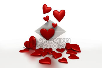Hearts floating out of envelope