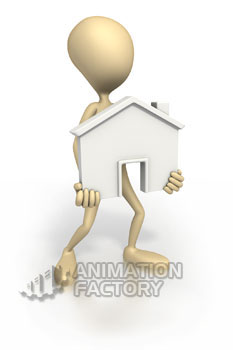 Stickman holding house outline