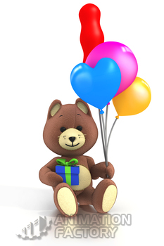 Brown teddy bear with present and balloons
