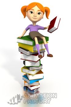 Girl sitting atop books