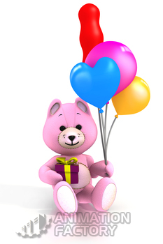 Pink teddy bear holding balloons and present