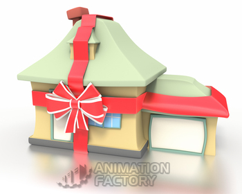 New house wrapped in ribbon with bow