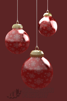 Three Christmas ornaments with snowflake pattern