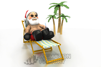 Santa Claus sunbathing on tropical beach