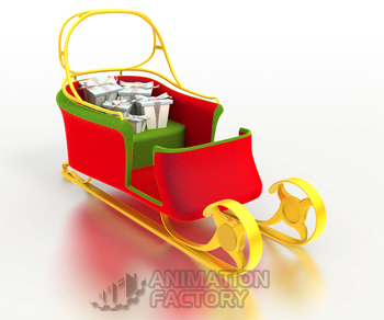 Colorful sleigh with Christmas gifts